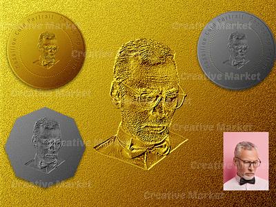 Medallion Coin Portrait Photoshop Action digital painting