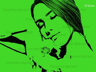 Tracing Portrait Photoshop Action canvas paint