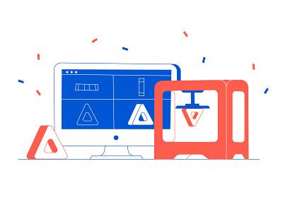 SLA 3D printing stroke flat content illustration 3d printing 3d printer