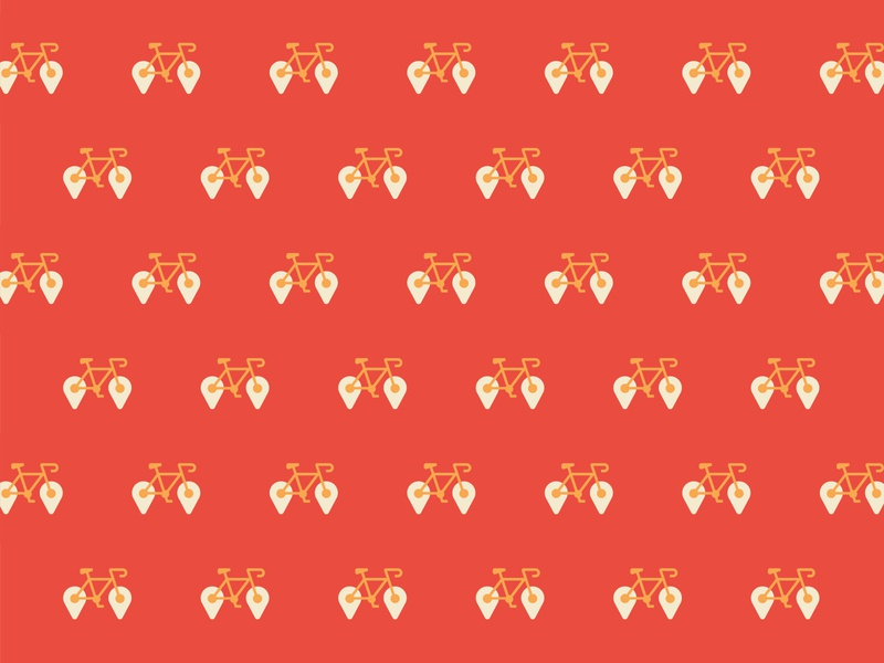 Pattern golden red bicycle pattern
