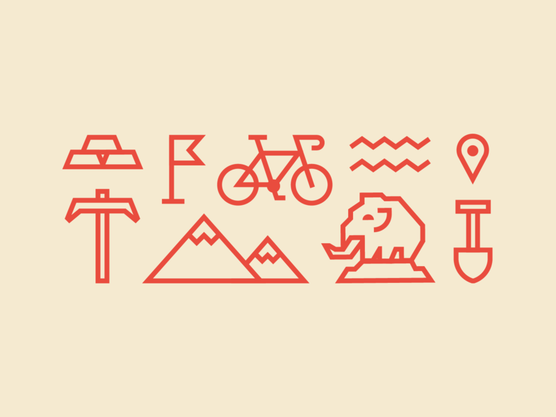 Pictograms flat stroke miner gold bicycle магадан icons
