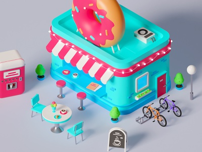 Cafe cafe game building donut croissant icecream bicycle vending machine coffee illustraion 3d