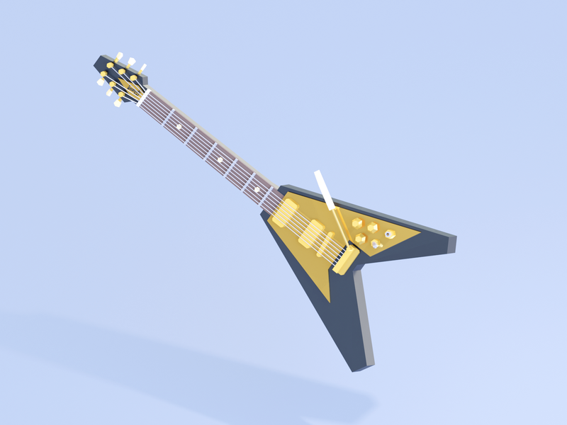 Flying V low poly 3d render custom kravitz lenny v flying gibson guitar