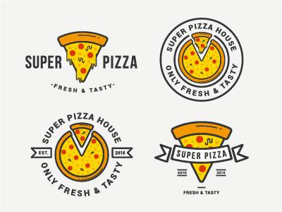 Pizza logos icon yum super stock tasty food pizza logotype logo