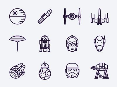 Star Wars free icons freebie icons free lightsaber bb8 x-wing c3po r2d2 stormtrooper millenium falcon death star star wars