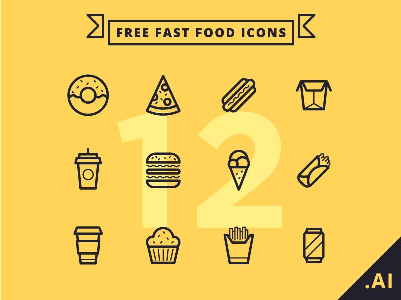 Free Fast Food Icons freebie hotdog fast food burger icecream illustration icons free