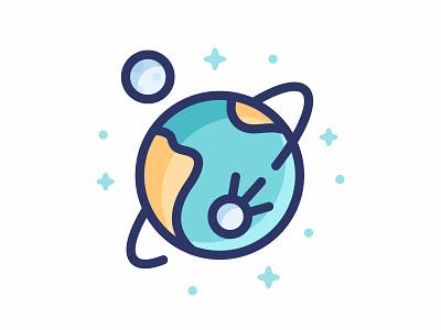 Earth stroke line sputnik science stars illustration icon satellite space planet moon earth
