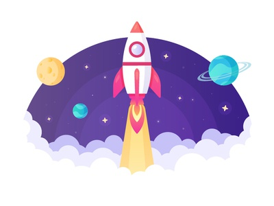 Launch! science space purple illustrator vector fast future logo graphics landing website web flat stars rocket launch planets rocket illustration