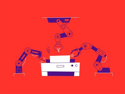 Printer repair process fix science tech repairs illustration robots robot repair printer