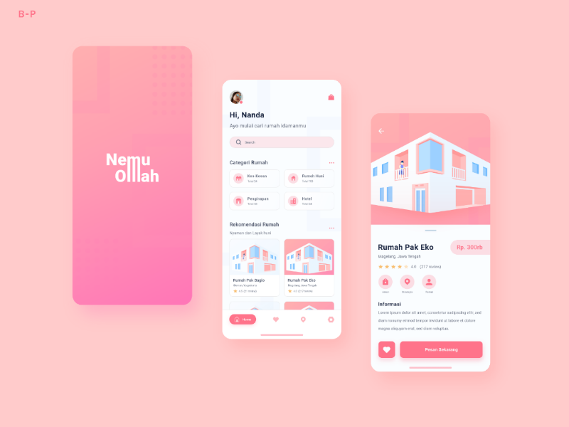 NemuOmah (Homestay) mobile soft smooth red 3d lllustrator mobile design mobile ui mobile app vector uxui house homestay homepage home app ui