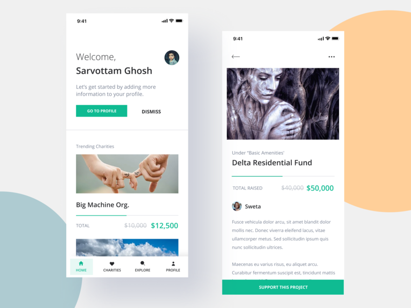 Charity app 2 hello dribbble gradient illustration app design interface interaction clean colors ui sarvottam