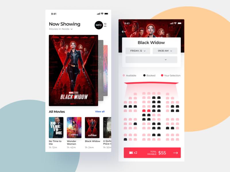Movie Ticket Booking App ux uiux app design interface interaction clean colors ui sarvottam