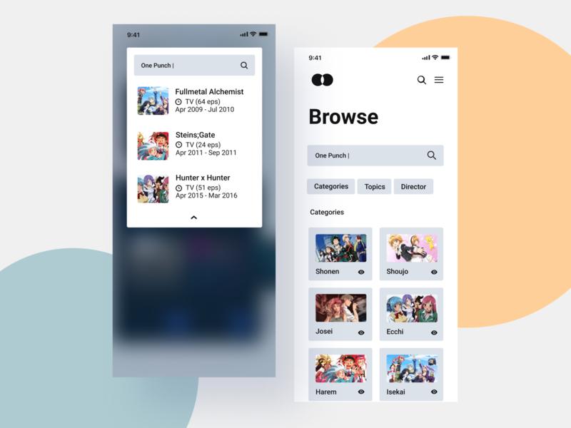 Anime streaming app branding animation ux uiux app design interface interaction clean colors ui sarvottam