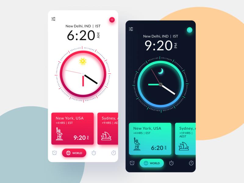Clock UI Design dark mode dark theme clock ux uiux app design interface interaction clean colors ui sarvottam