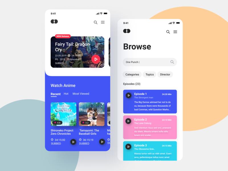 Anime Streaming Mobile applications uiux gradient app design interface interaction clean colors ui sarvottam