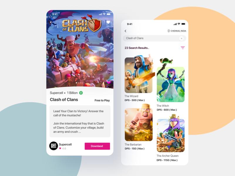 Store Design for Mobile applications ( Clash of Clans ) ui design animation ux hello dribbble uiux app design interface interaction clean colors ui sarvottam
