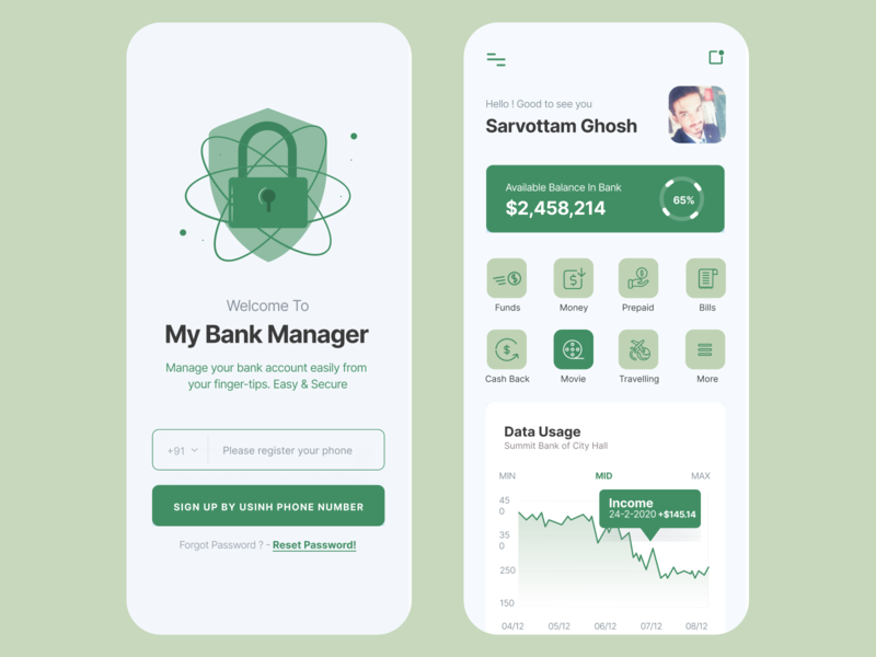 Banking Application for IOS banking app android ios app green minimal banking design vector animation interaction clean hello dribbble logo uiux gradient colors ui sarvottam