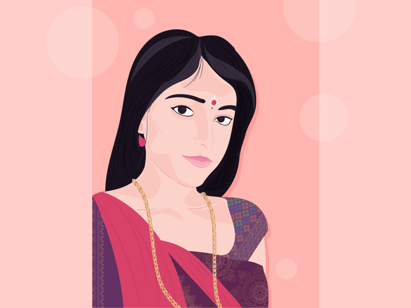 Indian Beauty vector portrait interaction outfit red hello dribbble illustration beautiful beauty potrait gradient branding vector ui app design colors saree traditional india indian