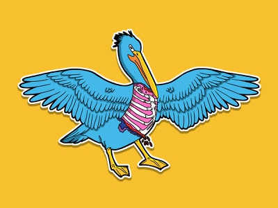 Pelican fable flat illustration fable colorful graphic design sticker pelican design illustration