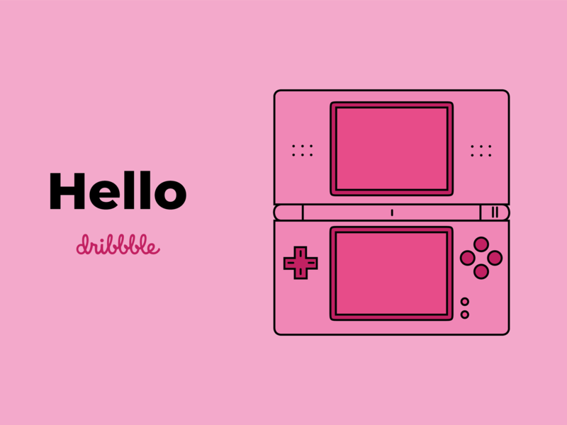 Hello Dribbble! console game debut first shot nintendo player design shot hello dribbble pink vector nintendo ds illustration