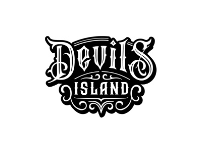 Devil's island badge devils island devil rum brand type logo logotype typography lettering