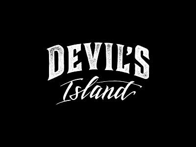 Devil's island calligraphy lettering logotype logo devils devil island brand alcohol rum