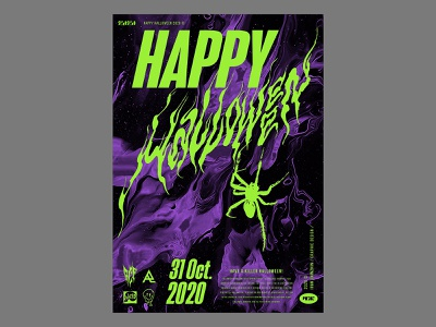 Happy Halloween poster spider calligraphy logotype acid logo poster halloween typography lettering