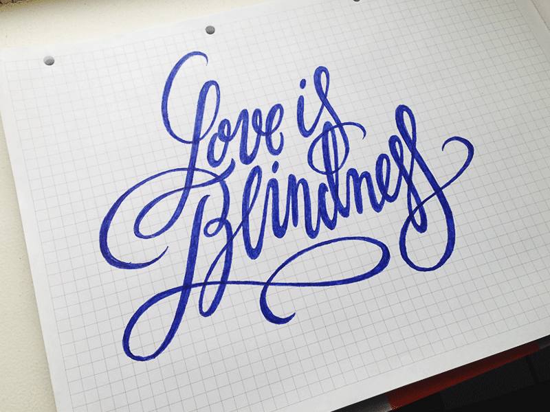 Love is... sketch typography logo logotype lettering type script calligraphy love blindness
