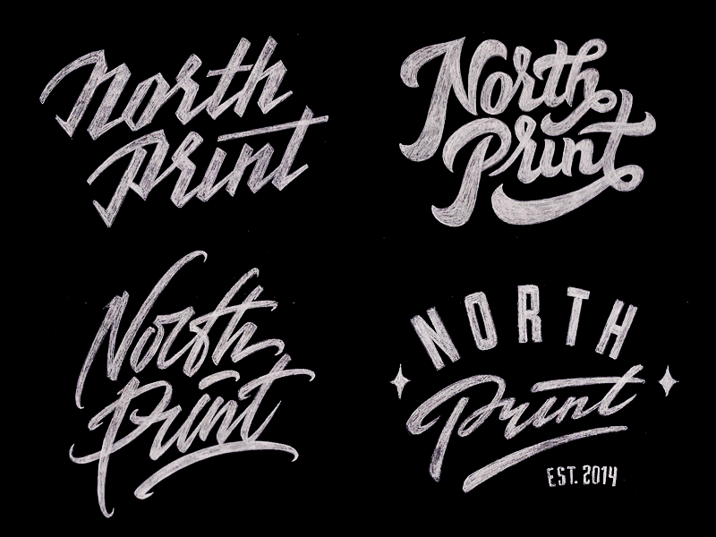 North Print #3 sketch typography logo logotype lettering type north print
