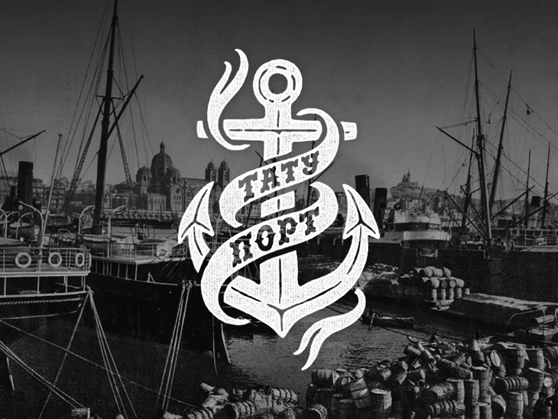 Tattoo Port logo typography logotype lettering type tatoo port anchor sea ship