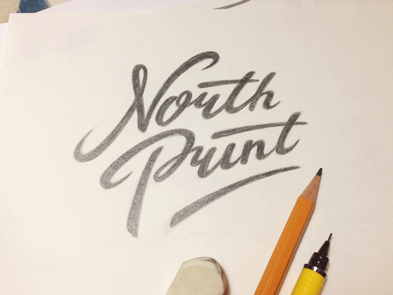 North Print #4 sketch typography logo logotype lettering type north print