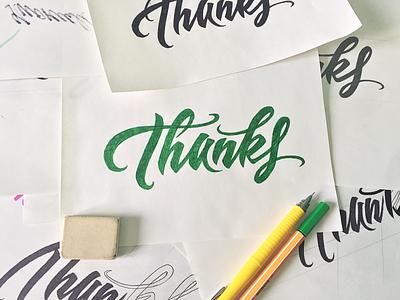 Thanks! sketch typography logo logotype lettering type handtype handwritten thanks