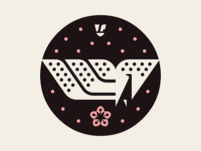 Konkai Symbol WIP josh brill cherry blossoms cherry blossom graphic design black pink vector peacock bird art illustration design icon wip symbol