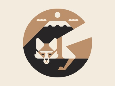 Hirogari Symbol WIP clouds mountain expanse vector icon branding brand packaging logotype logo wip symbol redfox fox hirogari