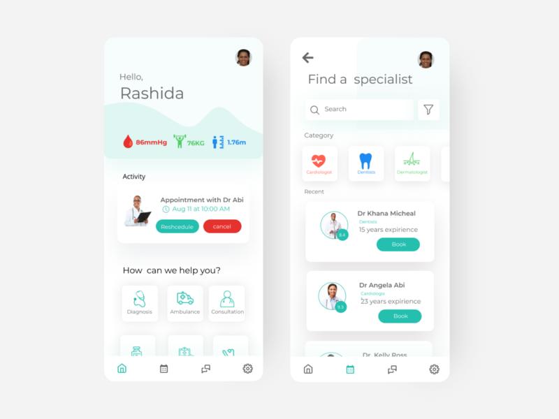 Medical app ui minimal app illustration web ux design uidesigner uidesign uiux ui