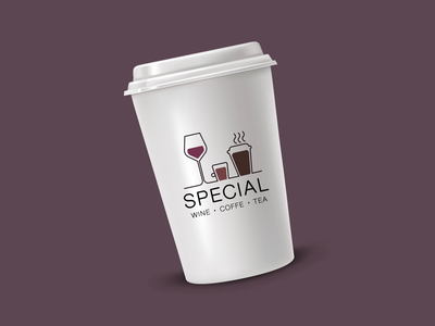 Logo for wine, coffee and tea shop