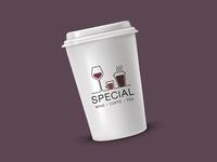 Logo for wine, coffee and tea shop