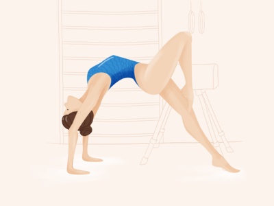 Gymnast illustration girl art