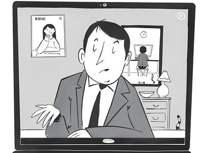 home office stayhome coronavirus office black  white onga fun drawing editorial illustration illustration cartoon 50s