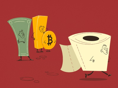 He thinks, we are silly! midcentury covid19 gold dollar bitcoin paper fun onga design character editorial illustration artwork illustration cartoon drawing 50s