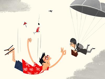 Another approach aviator hawaii parachute onga illustration fun cartoon drawing 50s