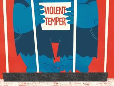 Violet temper editorial illustration illustration onga fun drawing cartoon 50s