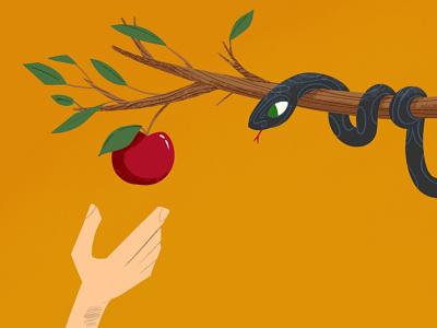 today you can modern three design snake apple editorial illustration onga illustration fun drawing cartoon 50s