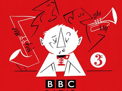BBC RADIO 3 radio3 johncoltrane illustration artwork poster character coffee jazz radio bbc editorial illustration drawing cartoon 50s