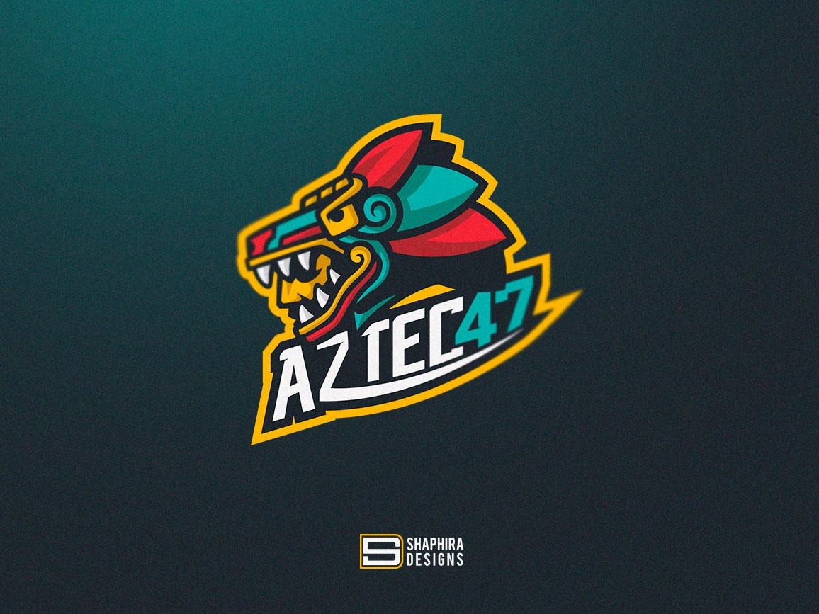 AZTECA Mascot Logo mascot logo design mexican logo aztec type branding vector logo design illustration logo deisgn mascot mascot logo shaphira shaphiradesigns
