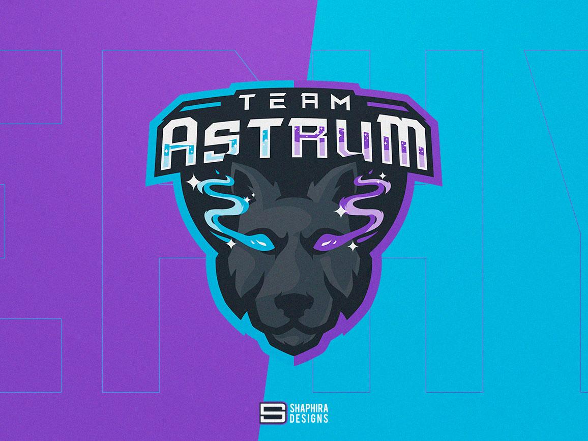 ASTRUM Mascot Logo astro wolf wolf mascot logo wolf logo astro logo astrum logo design mascot logo design mascot logo mascot type vector shaphiradesigns shaphira logo illustration design branding