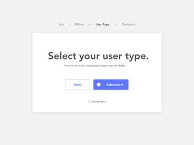 DailyUI #64: Select User Type