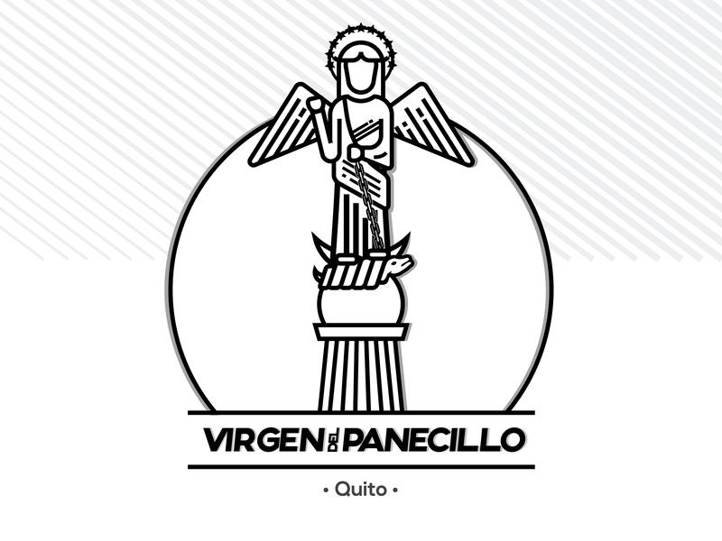 Citybadge Virgen del Panecillo Ecuador quito ecuador graphics graphic design brand clean logotype illustrator identity illustration typography type logo branding vector minimal flat design
