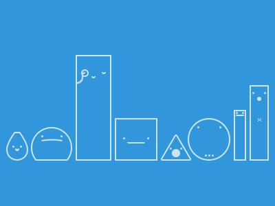 A family of little friends bleepbleeps icons illustration