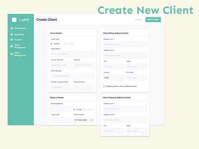 Create New Client design activity business client management